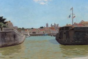 Entrée du Port de Saint-Martin-de-Ré, huile sur toile de Roger Chapelain-Midy, 3e quart du XXe siècle