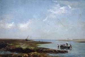La grève à l'île de Ré, Huile sur toile de Jules Lucien Giraudeau, 1881