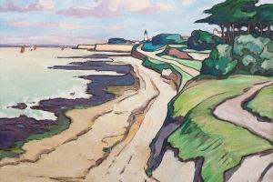 Le Vert Clos, huile sur toile de Gaston Balande, milieu XXe siècle
