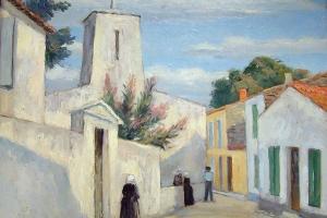 L'église des Portes, huile sur carton de Raphaël Drouart, 1ère moitié du XXe siècle