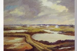 Marais à l'île de Ré, huile sur bois de Louis Suire, 1975