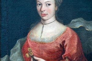 Femme en robe rouge, huile sur toile XVIIIe siècle