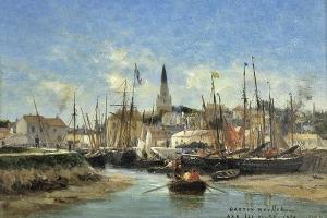 Le port d'Ars-en-Ré, huile sur bois de Gaston Roullet, peintre de la Marine, 1878