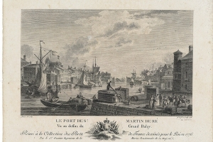Le port de Saint-Martin vu au dessus du Grand Balay par le sieur Ozanne dans la série des Ports de France, gravure sur papier de Le Gouaz, 1786
