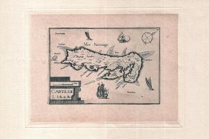 Carte de l'ile de Ré par Tassin, gravure sur papier, 1627