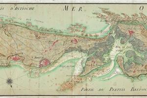 Carte de l'île de Ré, encre et aquarelle sur papier, 1742