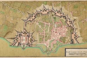 Plan de la ville et citadelle de Saint-Martin, sans doute plan du Génie, encre et aquarelle sur papier, 1722