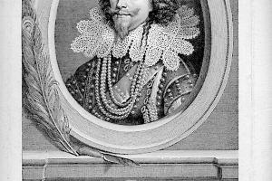 Georges Villiers, duc de Buckingham, par Adriaan Van der Werff gravure sur papier de Charles Simonneau, XVIIIe siècle