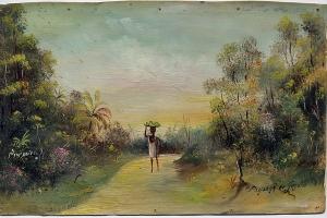 Colonie Guyane, huile sur parchemin du bagnard Premier, 1910