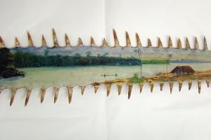 Paysage de Guyane, huile sur rostre de requin scie, anonyme, XXe siècle