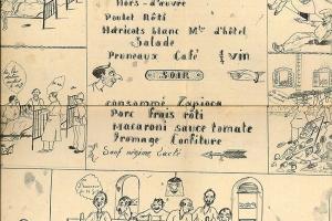 Menu du 14.07.1933, dessin à l'encre sur papier