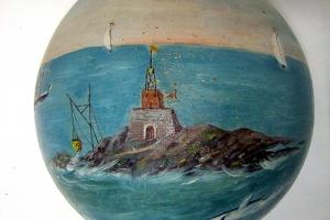 Le phare de l'enfant perdu, huile sur calebasse de Daniel Capbal, 1er quart du XXe siècle